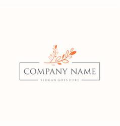 Wedding invitation monogram leaf logo floral vector