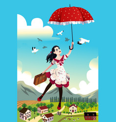 Woman holding an umbrella flying in the air vector