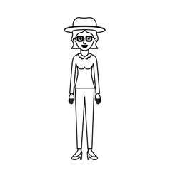 woman with hat and glasses and blouse long sleeve vector image