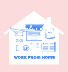 Work from home during quarantine concept vector