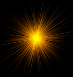 yellow rays rising on dark background vector image