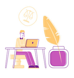 Young lawyer sitting at desk on huge wax stamper vector