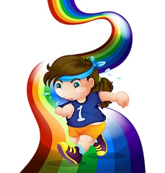 A woman jogging at the rainbow vector image vector image
