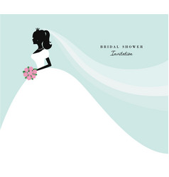 beautiful bride silhouette on pastel blue for vector image