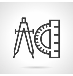 Compasses and protractor black line icon vector image vector image