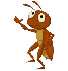 Cute cricket cartoon presenting vector image vector image