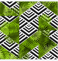 exotic leaves on geometric background patchwork vector image vector image