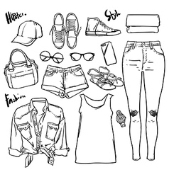 Hand drawn Lady fashion accessories outline vector image vector image