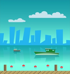 Port in the city vector