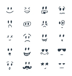 Set of hand drawn smiley faces Sketched facial vector image