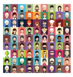 Set of people icons in flat style with faces 03 b vector image vector image