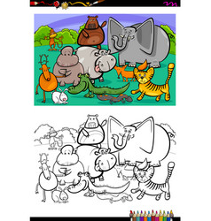 cartoon animal characters coloring book vector image vector image