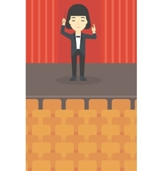 Conductor directing with baton vector image vector image