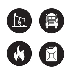 Fuel and gasoline production black icons set vector image vector image