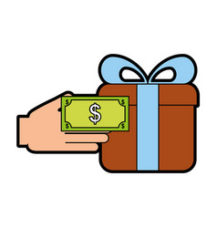 Giftbox present with hand human vector