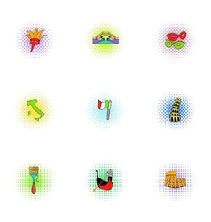 Holiday in Venice icons set pop-art style vector image vector image