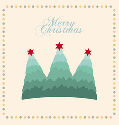Merry christmas tree pine decoration card vector