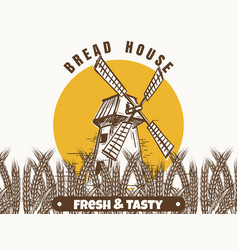 mill and wheat ears banner vector image vector image