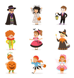 ute happy little kids in different colorful vector image vector image