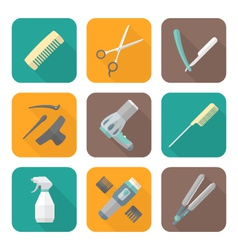 hairdresser tools color flat style icons set vector image vector image