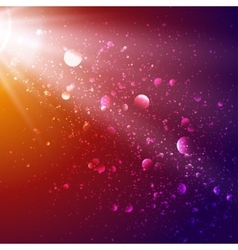 Lights in cosmos background bokeh effect vector image