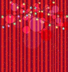 Red curtain and light for background vector image