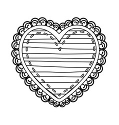 silhouette heart shape with lines pattern curl vector image vector image