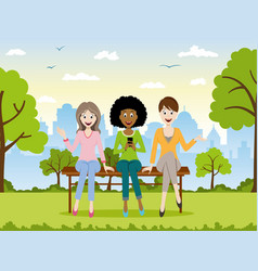 Three girls sitting on a bench vector
