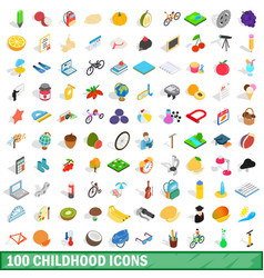 100 childhood icons set isometric 3d style vector image
