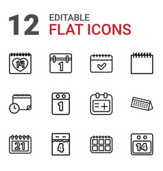 12 date icons vector