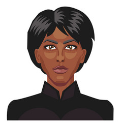 african girl with a short black hair on white vector image