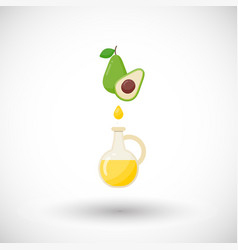 Avocado oil flat icon vector
