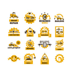 Big set of logos on the theme of construction vector