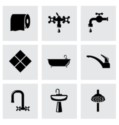 black bathroom icon set vector image