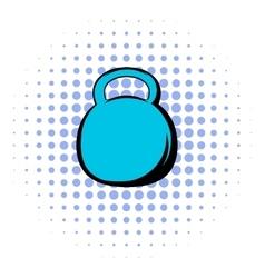 Black kettlebell icon comics style vector image