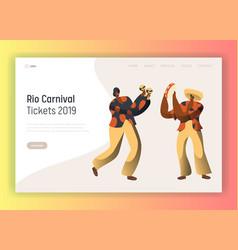 Brazil carnival man character landing page dance vector