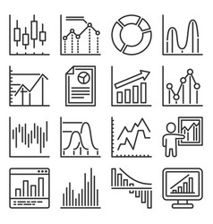 business charts and graph icons set vector image