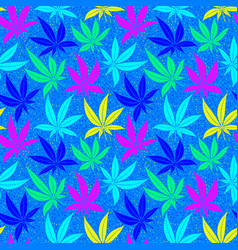 cannabis leaves bright multicolored seamless vector image
