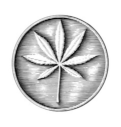 cannabis logo hand drawing in coin style black vector image