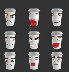 Cartoon Coffee Mug Emotion Face vector image