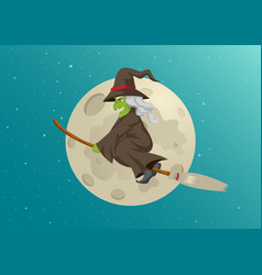 Cartoon of a witch flying with her broom during vector