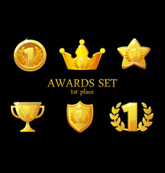collections awards trophy golden awards icons set vector image