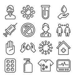 coronavirus icons set on white background line vector image