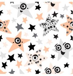 cute cartoon monster stars character seamless vector image