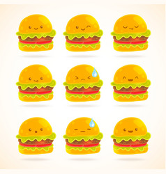Cute funny cartoon hamburger with emotions set vector image