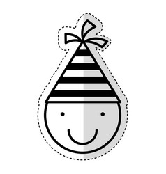 Cute little boy with hat party character vector