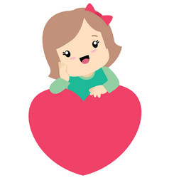 Cute little girl leaning on a heart valentine vector