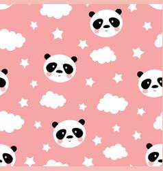 cute panda seamless pattern vector image