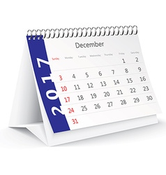 December 2017 desk calendar - vector image