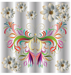 decorative colorful butterfly design vector image